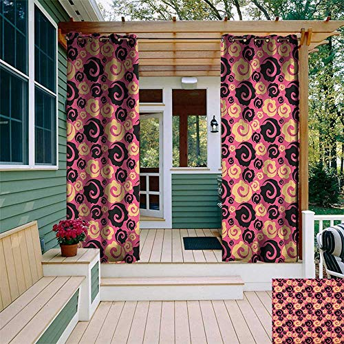 leinuoyi Floral, Outdoor Curtain Grommet, Vibrant Vintage Pink with Flowers Roses Stylish Fashion Inspired Blooms, Outdoor Curtain Set for Patio Waterproof W108 x L108 Inch Pale Orange Pink Black