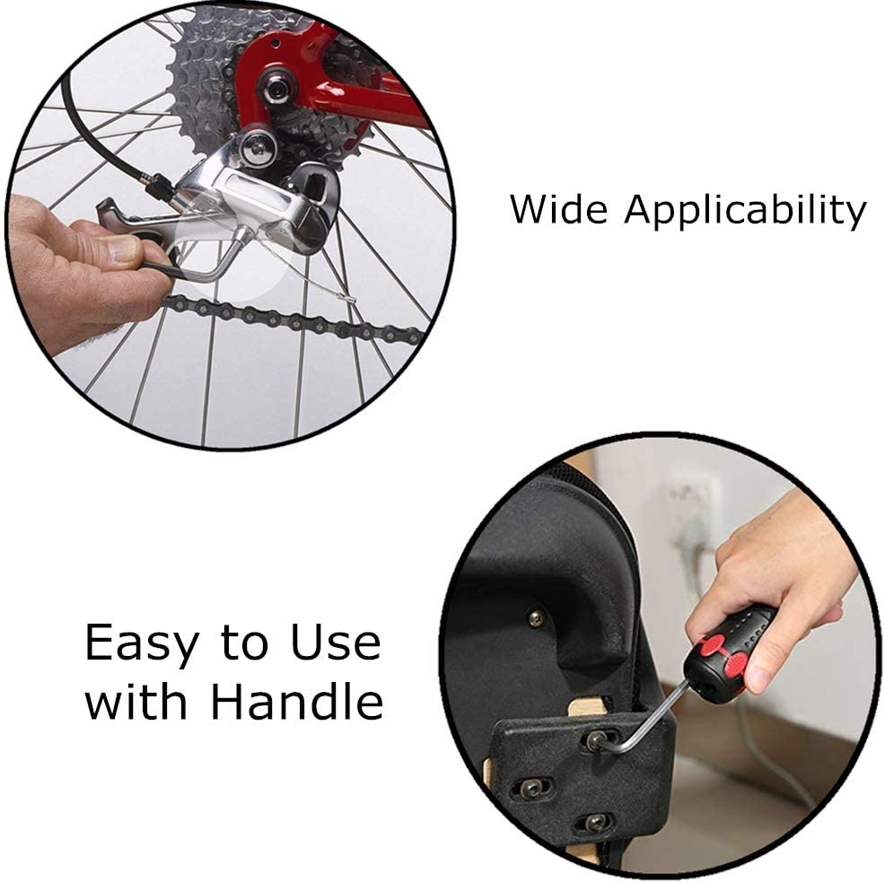 Hex Key Set Metric 9pcs Ball-End Allen Key Set Multicolor 1.5-10mm and 1pcs Torque Rod for Electronics Bikes Motorcycle Repair