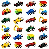 Jerryvon Pull-Back Vehicles Mini Toy Cars 24 Pack Assorted Trucks and Raced Car Toy Set with 2 Sets Dumps Trucks Diggers Bullozers Racing Cars Karting Construction Party Favors for Kids 24PCS