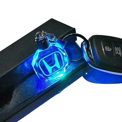 VILLSION 7 Colores Cambiantes Logo Coche Honda Llavero con luz LED Llave Accesorios