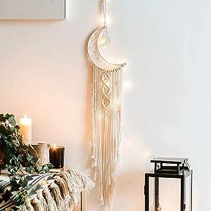 VENROII Moon Dream Catcher, Macrame Handmade Bohemian Dreamcatcher with LED Lights, Home Decor Boho Chic Woven Decoration for Kids Room Home Wedding Ornament Craft Christmas Birthday Gift (Moon)