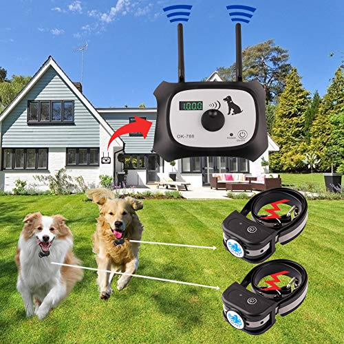 Wireless Dog Fence Electric Pet Containment System, Safe Effective Beep/Shock Dog Fence, Adjustable Control Range 1000 Feet & Display Distance, Rechargeable Waterproof Collar (Black, 2 Dog System) (Wireless Fencing)
