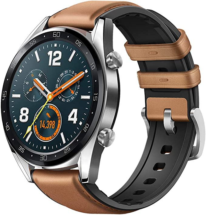 Huawei Watch GT 2018 Bluetooth SmartWatch,Ultra-Thin Longer Lasting Battery Life,Compatible with iPhone and Android (Steel (Leather Strap)) Contains ...