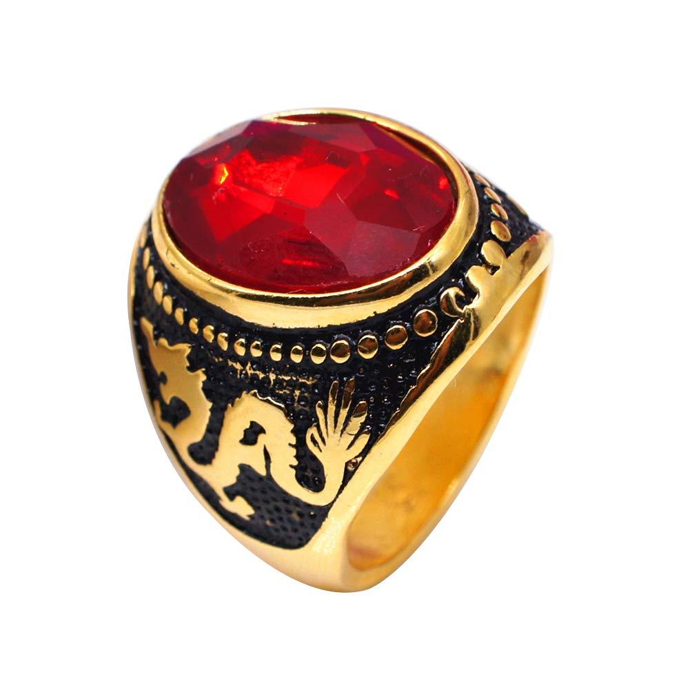 Anillo de dedo para hombre, diseño vintage de dragón ovalado con circonitas, accesorio para fiesta, club de graduación, color rojo Yiwencult