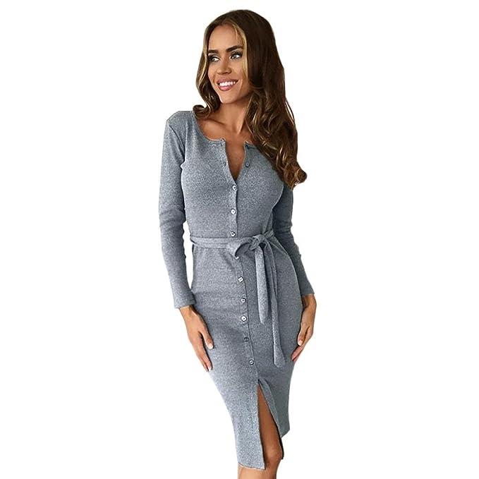 Trada Vestito da cocktail da donna sottile con bottone a forma di anca con  pacchetto moda da donna Casual Abito Lunghi Eleganti Vestito Abito Da ... 2b8032e7794
