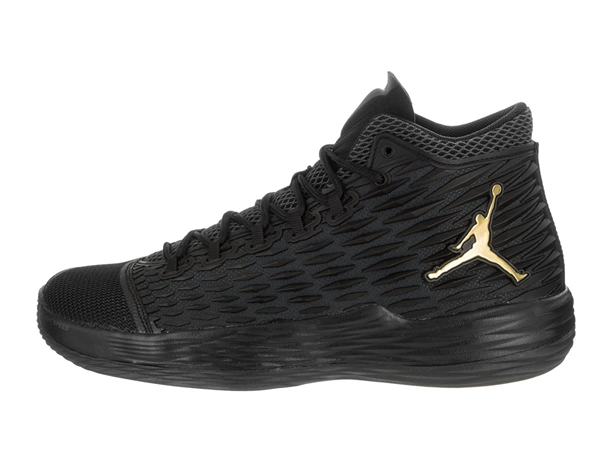 eb0207e64ef Amazon.com | Nike Jordan Mens Jordan Melo M13 Black/Metallic Gold  Anthracite Basketball Shoe 12 Men US | Basketball