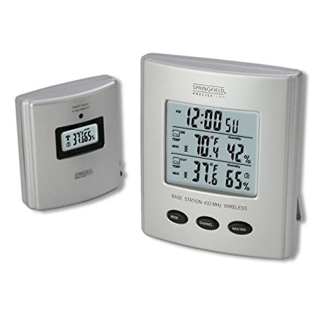 Springfield Wireless Thermometer with Indoor/Outdoor Temperature and Humidity