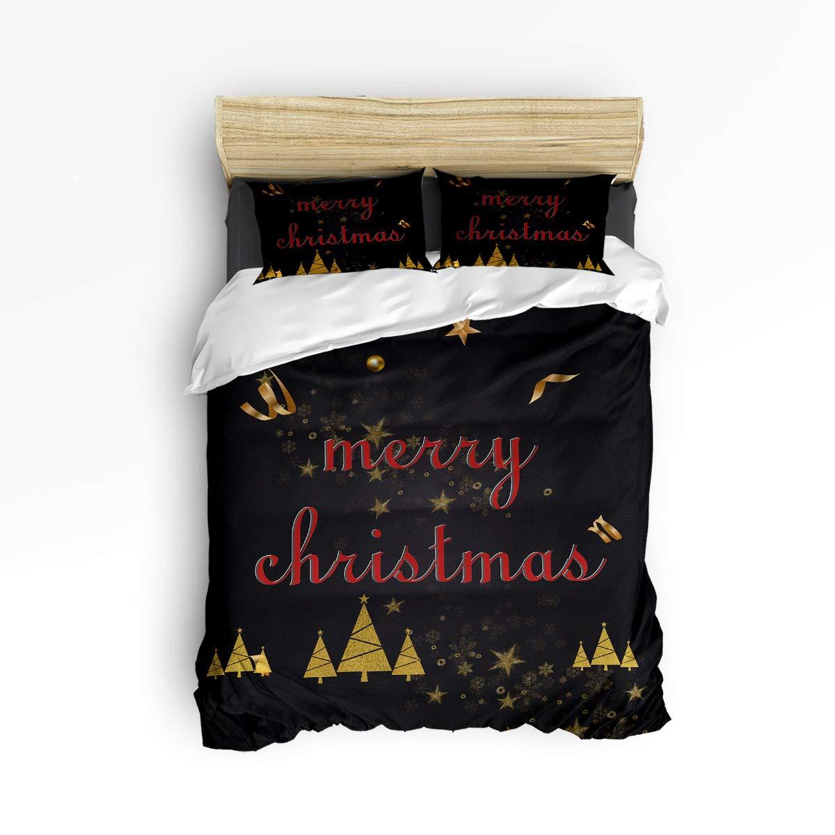 Z&L Home メリークリスマス 寝具4点セット 掛け布団カバー ブラックとゴールド ラグジュアリー ソフト フラット シーツセット 装飾枕カバー付き ティーン ガールズ ボーイズ メンズ レディース キッズ ツイン LFFMARNM11210EWLYX-SWTQ01382SJTAZLH B07KR14SQY Merry Christmas ツイン