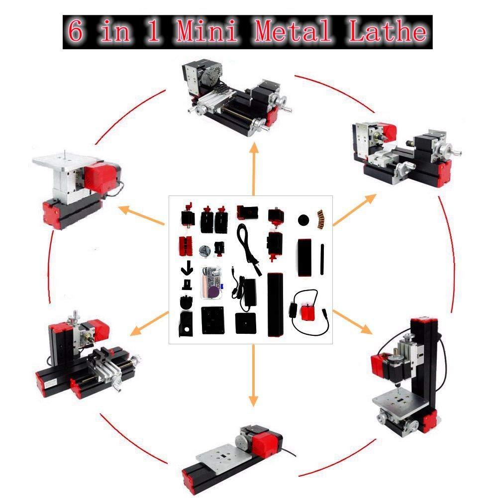 Mini Torno de Madera y Metal 6 en 1,12000 Rpm 12VDC / 2A / 29W Amoladora Motorizada de Rompecabezas para el Montaje de Bricolaje de Sierra, Amoladora, Perforadora, Torno de Madera, etc.