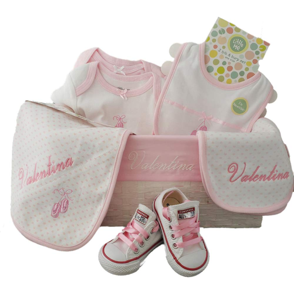 Custom Made babyshower Basket Gift for Girl 9 pcs Set, Includes 3 pcs Personalized Baby Name Little me Blanket, Bib and Basket. Also Converse Chuck Taylor All Star Bodysuit for Newborn