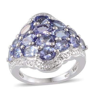TJC Women Platinum Plated 925 Sterling Silver Made with Swarovski® Zirconia Halo Ring Size O qBxJIB