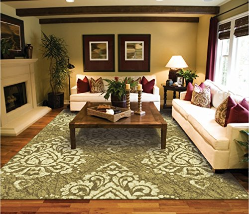 Amazon Modern Large 8x11 Area Rugs Green Cream Contemporary For Living Room 8x10 Luxury Bedroom And Dining Rooms Washable