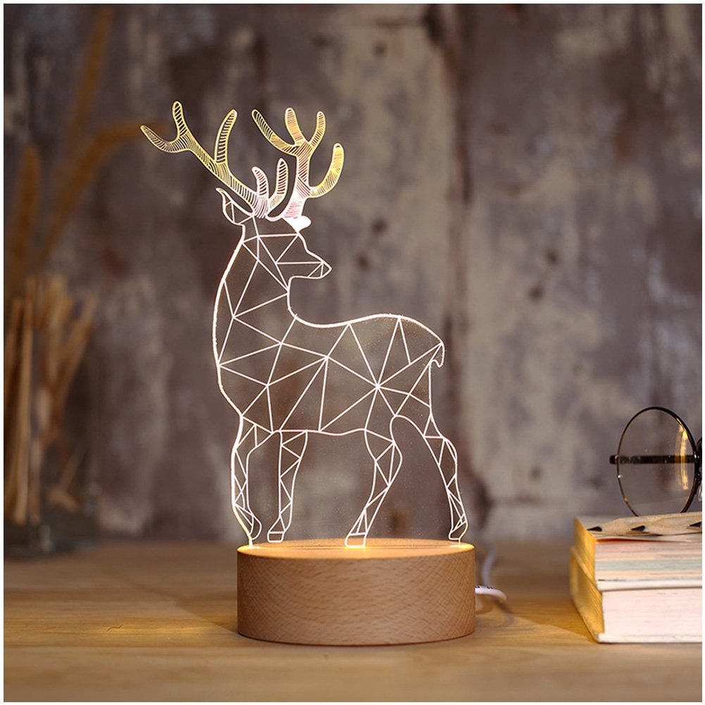 Night Light, 3D Illusion LED, Kids Younger Bedroom Night Lamp USB Desk Light Christmas 2018 New Year Decoration, Deer by HaloVa