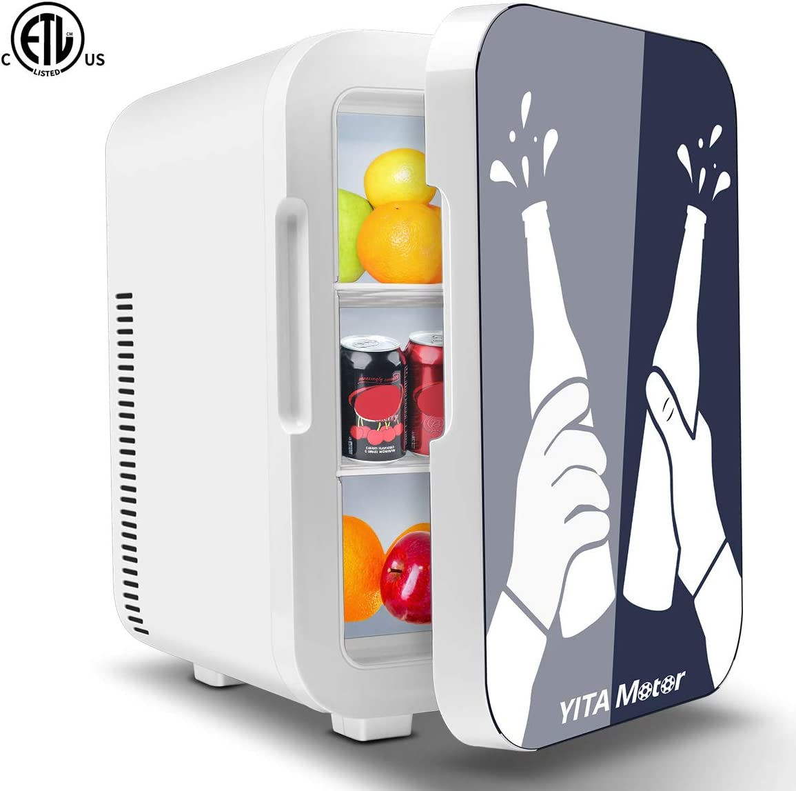 YITAMOTOR Mini Fridge 10 Liter Compact Portable Personal Cooler and Warmer Refrigerators for Bedroom, Car, Office, Dorm, Travel, Foods, Beverage, Beer, Medications, Blue