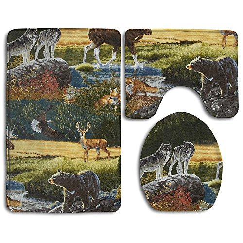 Mountain Wildlife Nature Bear Moose 3 Piece Bathroom Rug Mat Set Soft Memory Foam Bath Carpet Contour Rug With Lid Cover