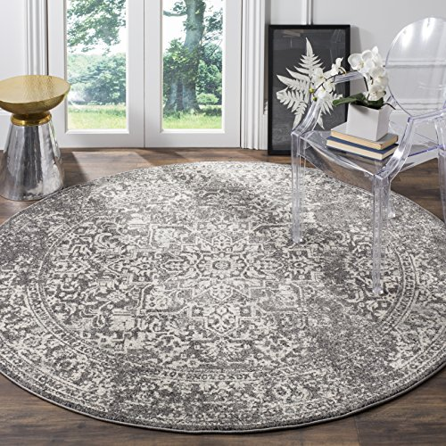 Safavieh EVK256D-3R Evoke Collection Grey and Ivory Round Area Rug, 3' Diameter,