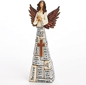 Praying Angel Faith-Filled Robes Whitewashed 4 x 10.5 Resin Tabletop Figurine