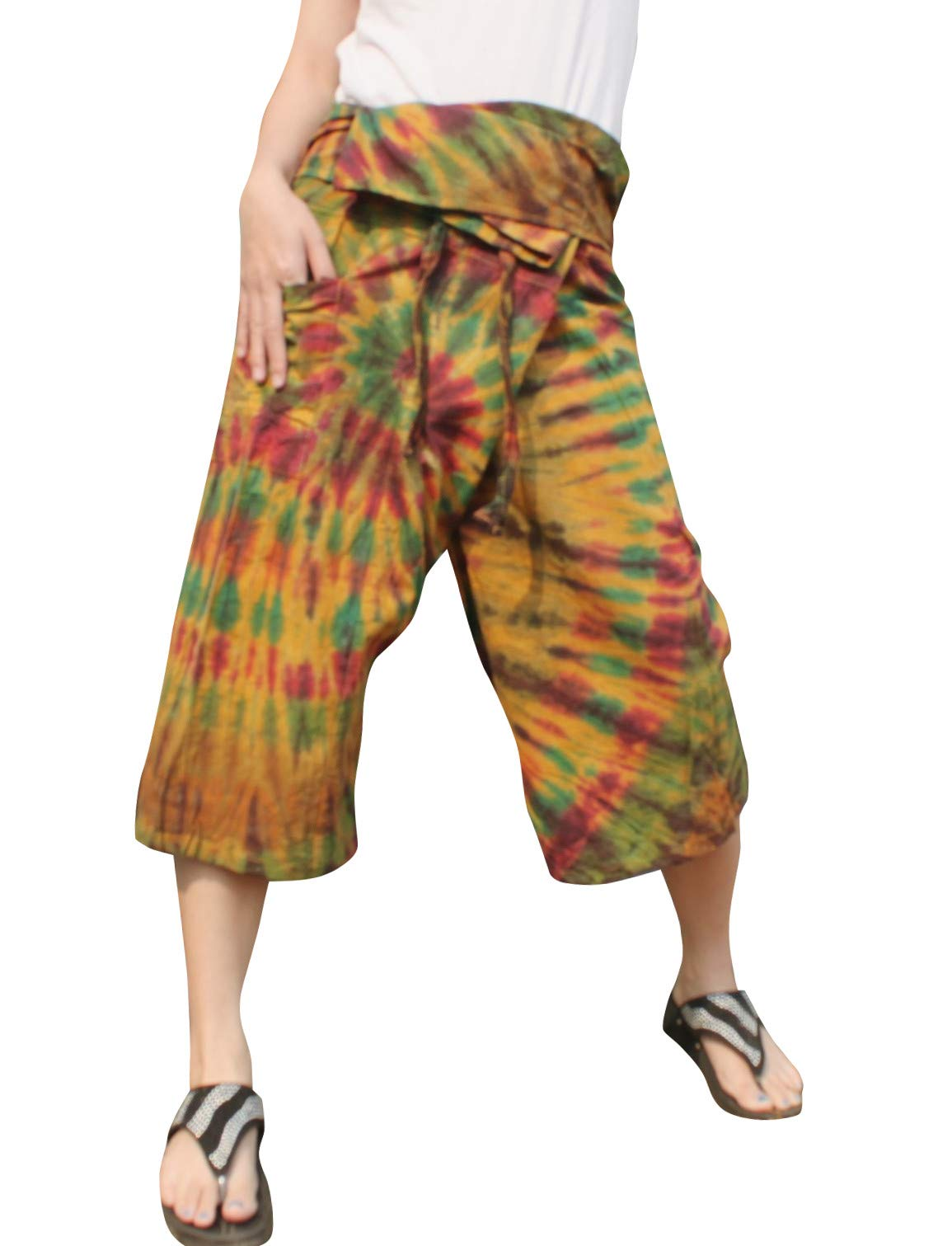 Full Funk Cotton Tie Dyed Natural Colorful Thai Fisherman Wrap 3/4 Leg Pants, Medium, Cocoa Brown by Full Funk