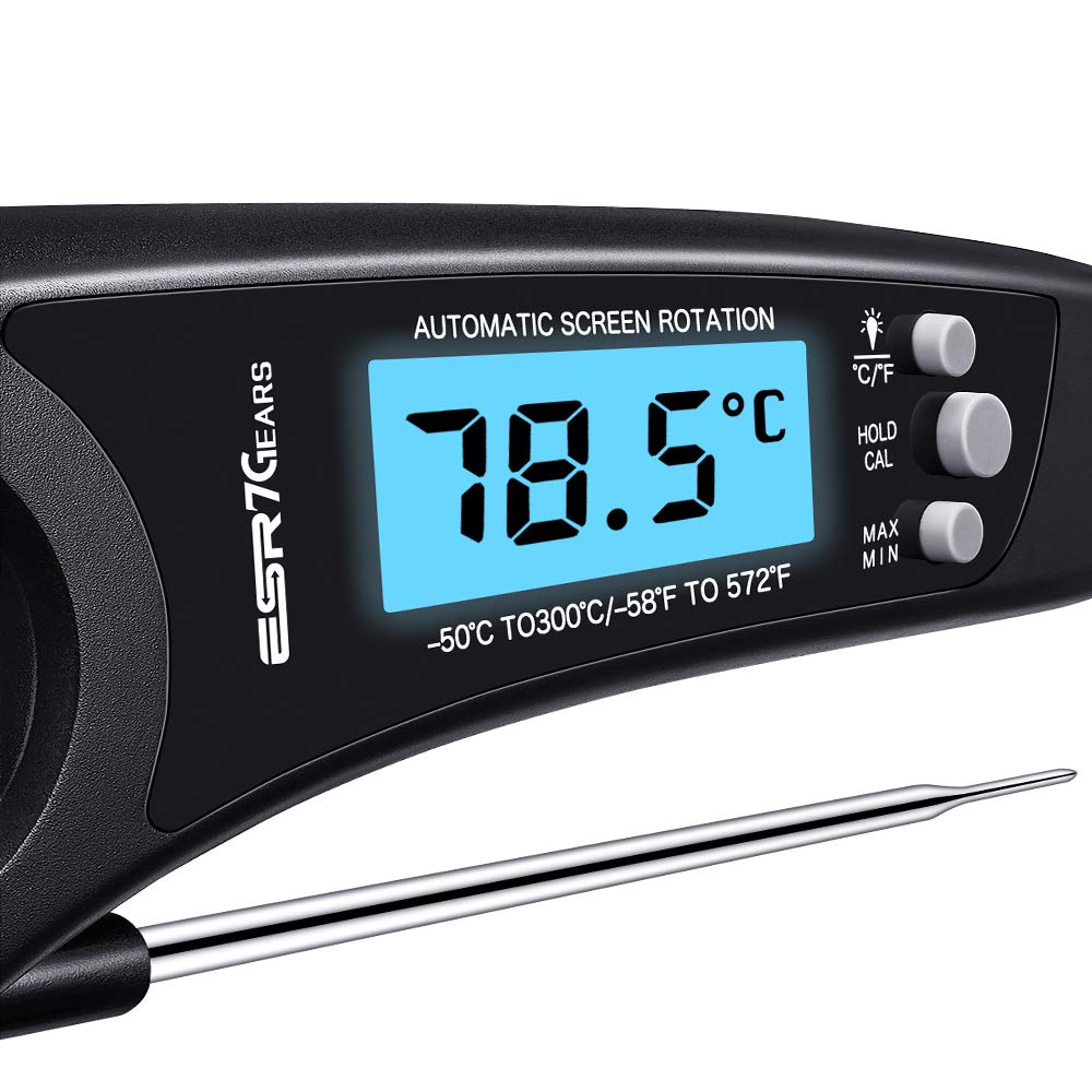 ESR7Gears Cooking Thermometer, Instant-Read, Ultra-Fast, Backlit Digital Meat Thermometer, with Long Folding Probe, Calibration, and Waterproofing, for Kitchen, Grilling, and BBQ, Black