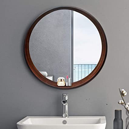 Magnificent Bathroom Mirror Solid Wood Round Vanity Mirror With Frame Download Free Architecture Designs Sospemadebymaigaardcom