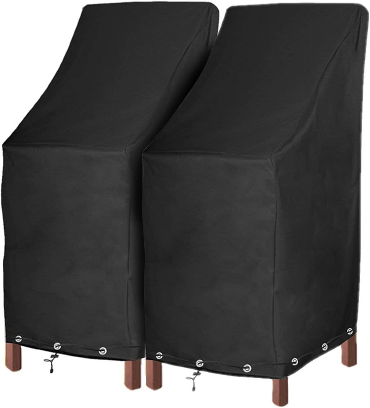 Patio Chair Covers Waterproof Durable Outdoor Bar Stool Cover Premium  Stairs Cover Stackable Chairs Cover Black Thick Oxford Cloth (L8.8 x D8.8  x