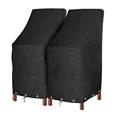 Patio Chair Covers Waterproof Durable Outdoor Bar Stool Cover Premium Stairs Cover Stackable Chairs Cover Black Thick Oxford Cloth (L27.5 x D27.5 x H49.2 inch, 2 Pack with Lock Hole)