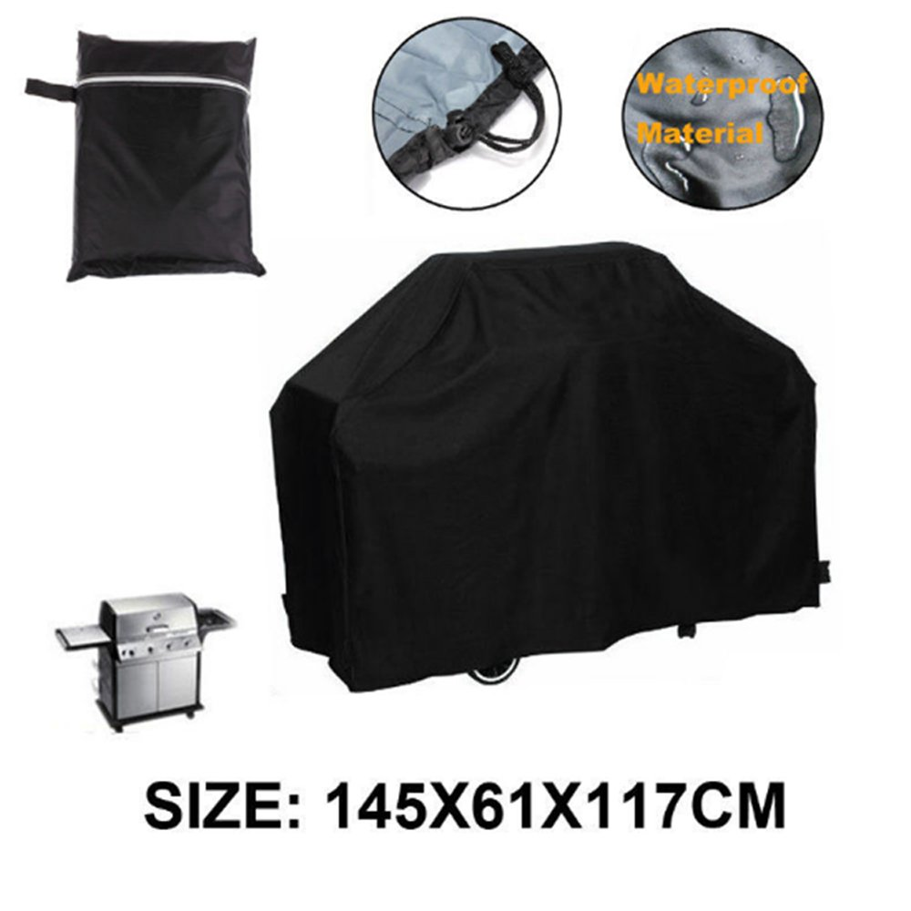 MAXFE.CO Gas Grill Cover, 145 cm Heavy Duty BBQ Cover Waterproof Outdoor Barbeque Grill Cover for Weber, Char Broil, Brinkmann with Drawstring and Spring Lock