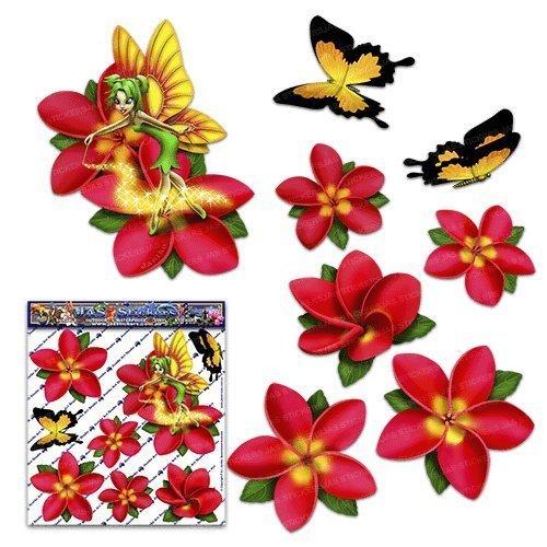 Fé e frangipani plumeria rouge fleur / papillon autocollants pour animaux - ST00062RD_SML - JAS Stickers