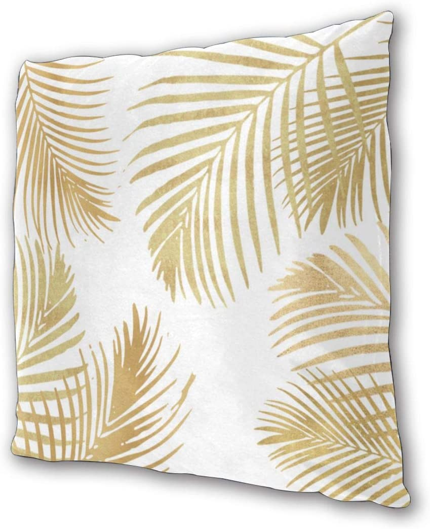 Cushion Covers Pack of 2 Cushion Covers Throw Pillow Cases Shells for Couch Sofa Home Decor Gold Palm Leaves 45cm x ...