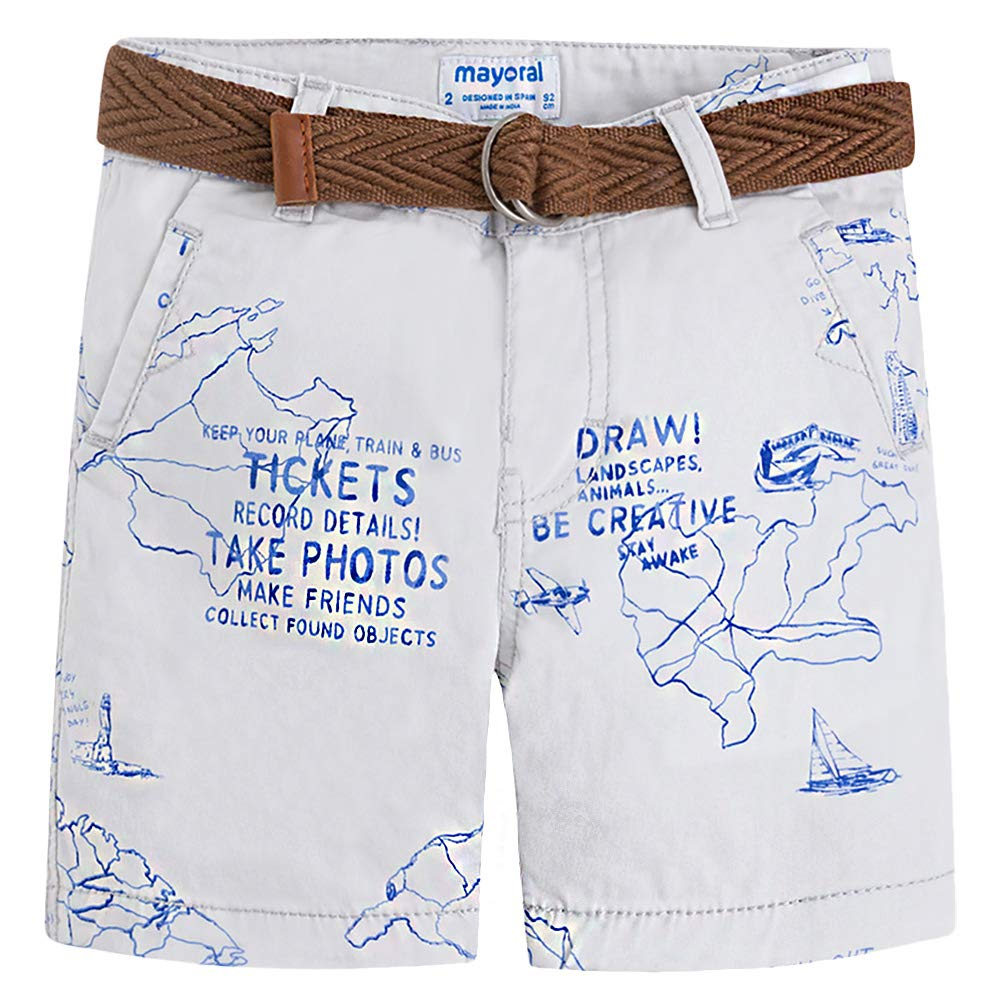 Mayoral World Traveler Shorts with Belt for Boy Map Print