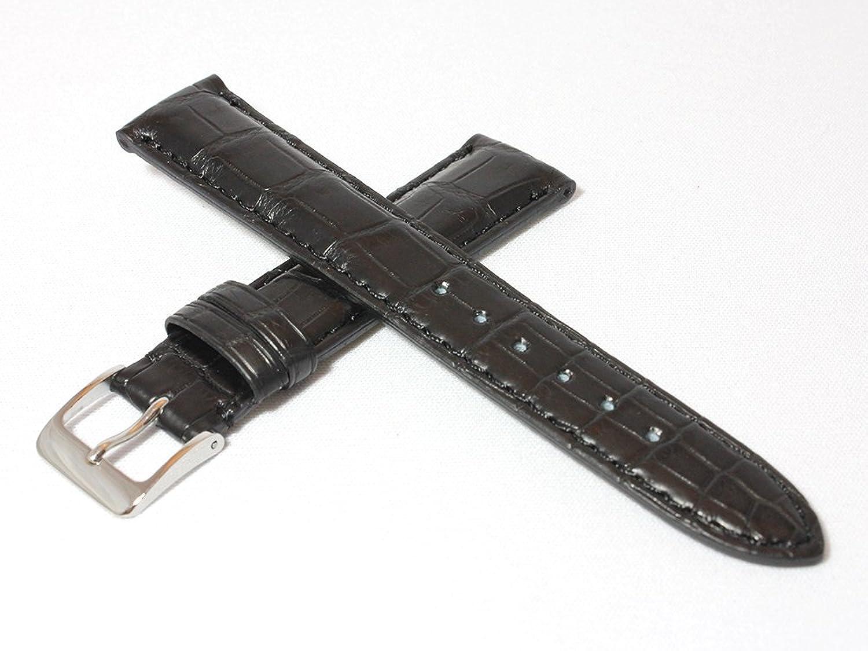日本製 20mm クロコダイル(ワニ革)時計ベルト マット仕上げ ブラック(黒)シルバー尾錠 ミモザ社時計バンド WRM-A20  B01ADQQ0HM