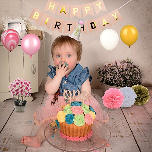 1st First Birthday Girl Decorations - Pink Bday Party Supplies Set Including Happy Birthday Banner,One Cake Topper,1st Birthday Cone Hat,24 Pcs Balloons,8 Pcs Tissue Paper Pom Poms (Set of 35) -