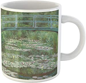 Awowee Coffee Mug the Japanese Footbridge By Claude Monet 1899 French Impressionist 11 Oz Ceramic Tea Cup Mugs Best Gift Or Souvenir For Family Friends Coworkers