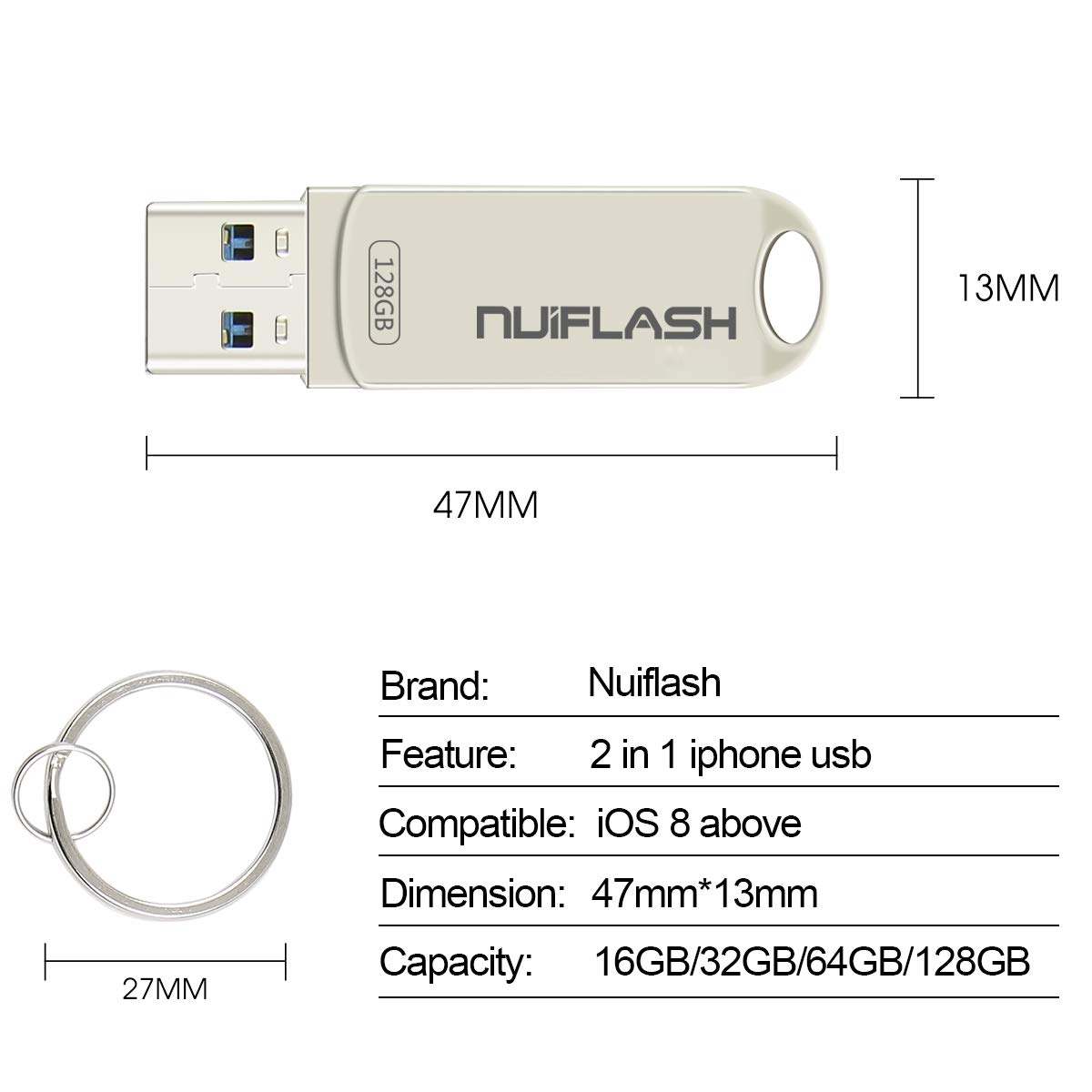 128GB Flash Drive for iPhone Photo Stick Memory Stick USB 3.0 External Storage nuiflash Thumb Drive Compatiable with iPhone/iPad/Mac (128GB-Silver)