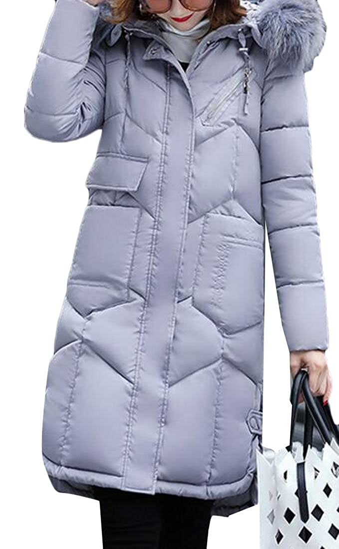 Gery Keaac Women's Long Thickened Fur Collar Hooded Down Jacket