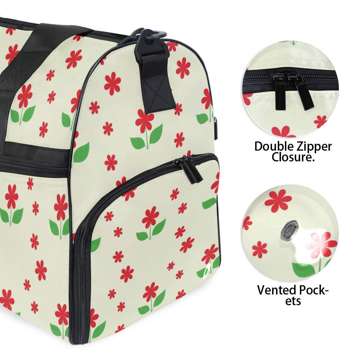 Red Flower Pattern 45L Duffel Overnight Weekend Bag DEZIRO Weekender Bag Canvas Duffle Bag for Travel
