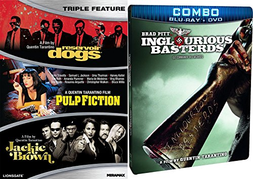 Quentin Tarantino 4-DVD Movie Set: Reservoir Dogs / Pulp Fiction / Jackie Brown and Inglorious Basterds (DVD/Blu-ray Combo) Steelbook Bundle