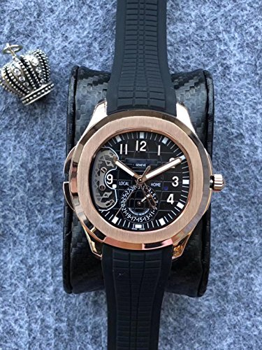 Luxury Brand Stainless Steel Gold Color Black dial Black Rubber Skeleton Automatic (self-Wind) Aqua Traveller Watch Watches