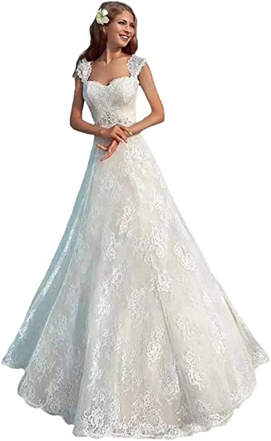 Dimei Romantic A Line Lace Beach Wedding Dresses For Bride 2018 Cap Sleeves Wedding Gowns At Amazon Women S Clothing Store