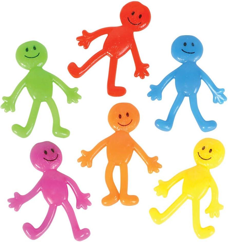 12 Stretchy Flexible Smiley Face Guy Men Figures Party Goody Bag Pinata Toy