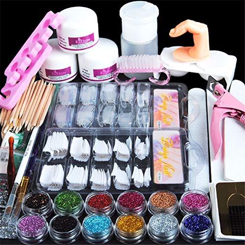 Acrylic Nail Art Manicure Kit 12 Color Nail Glitter Powder Decoration Acrylic Pen Brush False Finger Pump Nail Art Tools Kit Set -