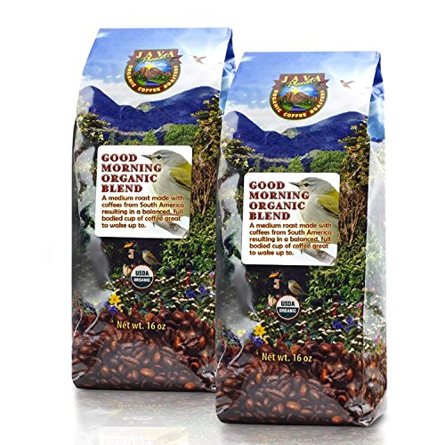 Java Planet - Good Morning USDA Organic Coffee Beans, Medium Roast, Arabica Gourmet Coffee Grade A, packaged in two 1 LB bags