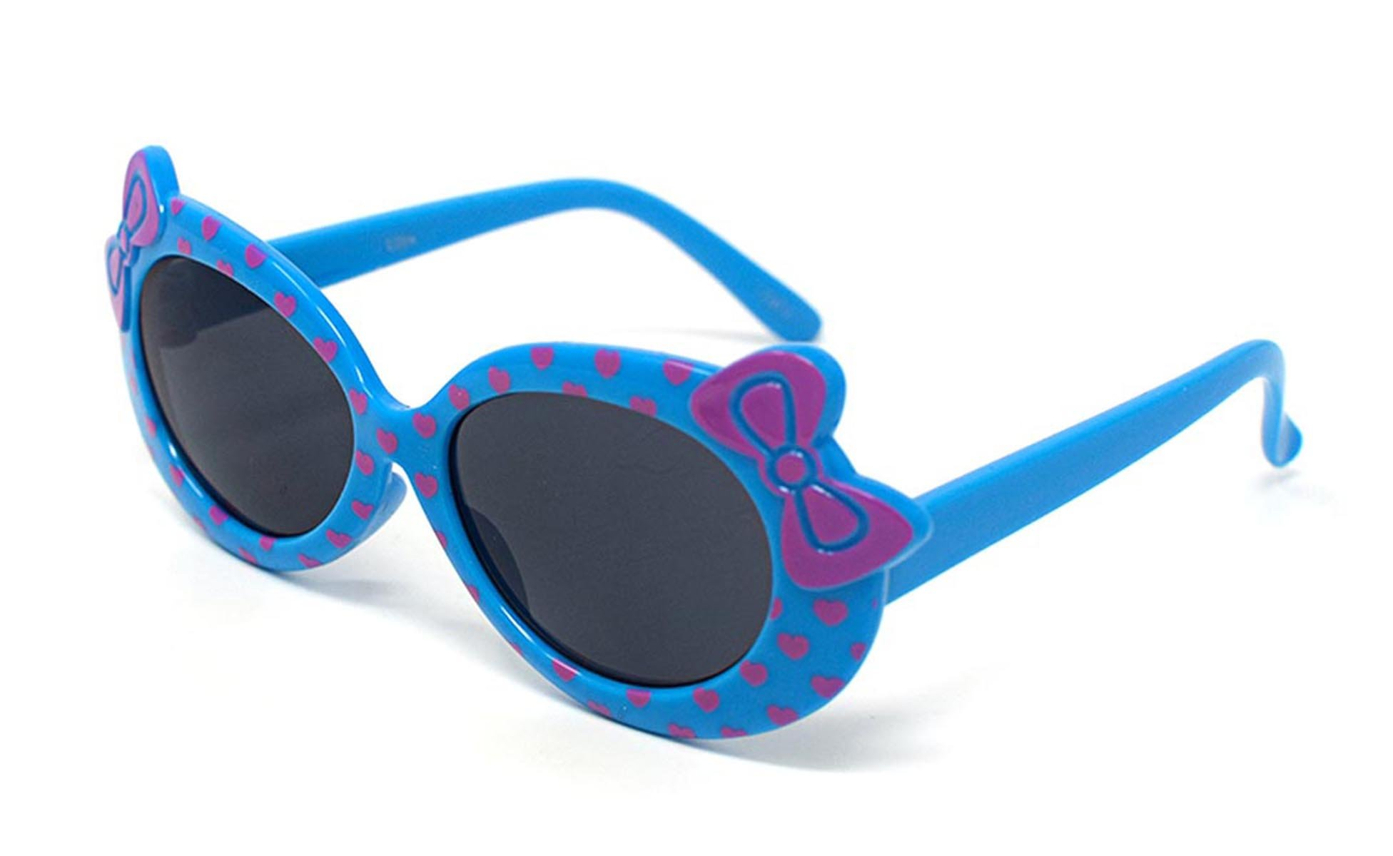 4 x Blue Coloured Childrens Kids Girls Stylish Cute Designer Style Sunglasses with a Bow and heart Style UV400