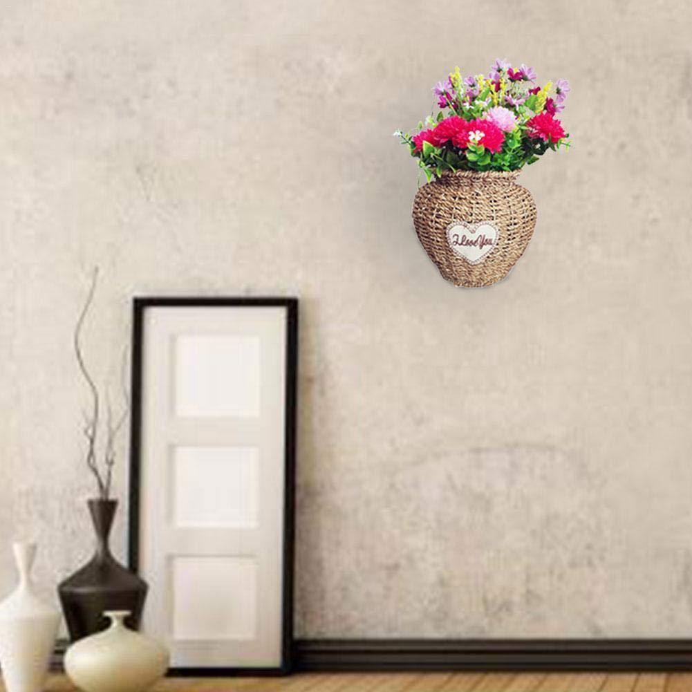 iBaste Cestas de Flores para Colgar en la Pared Estilo N/órdico Plantas Macetas Decorativas Cesta de Rat/án Cesta colgante para Decoraci/ón