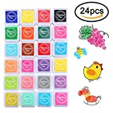 COCODE Craft Ink Pad, 24 Colors Finger Ink Pad Rainbow Ink Pad Rubber Stamps Partner DIY Color Card Making, Scrapbooking,Schooling Projects, Bullet Juornal for Kids Children