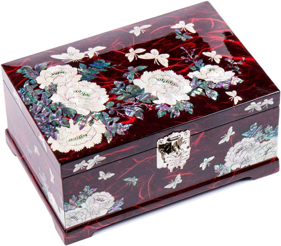 Red Wooden Beautiful Peony Mother of pearls Inlaid Jewelry Trinket Box Treasure Flower Lacquer Antique Nacre Wedding Daughter Ring Gift