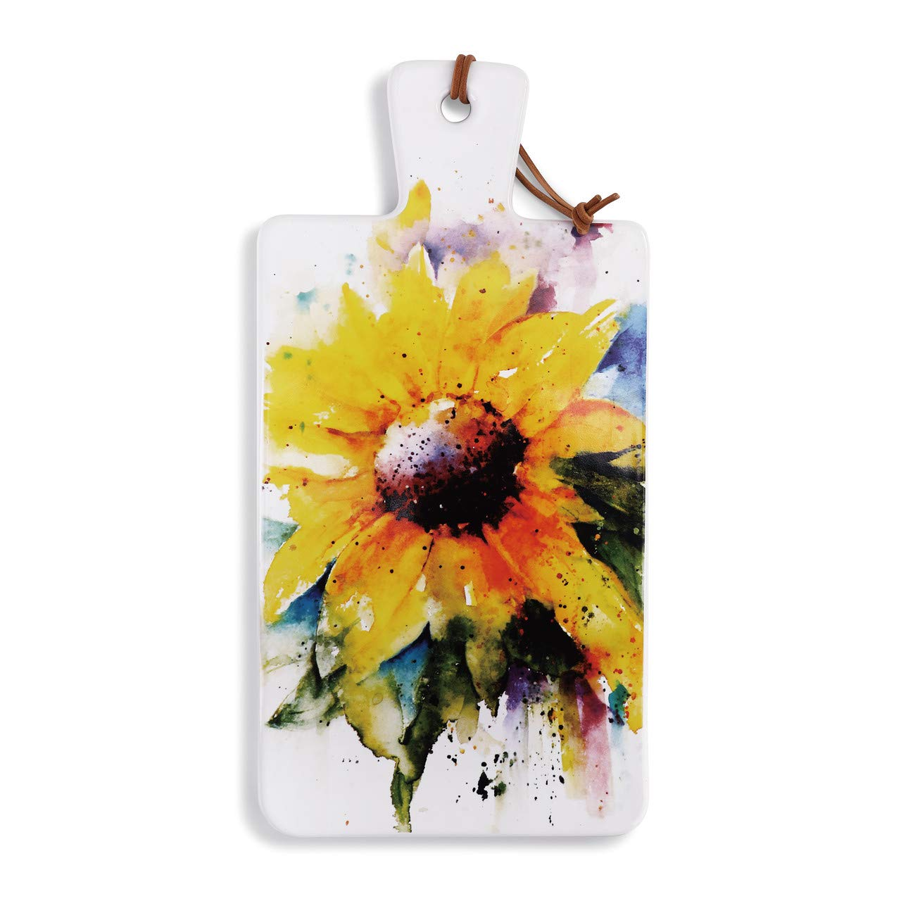 Dean Crouser Sunflower Watercolor Yellow 14 x 7 Ceramic Stoneware Carving Serving Board