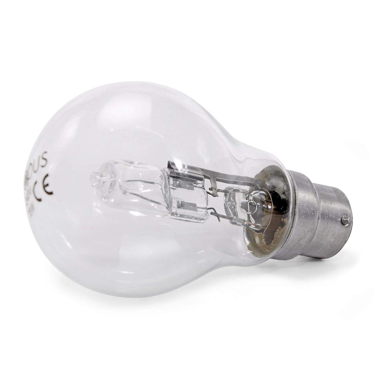 a risparmio energetico Opus GLS BC B22-5 lampadine alogene da 42 W con attacco a baionetta di lunga durata dimmerabili