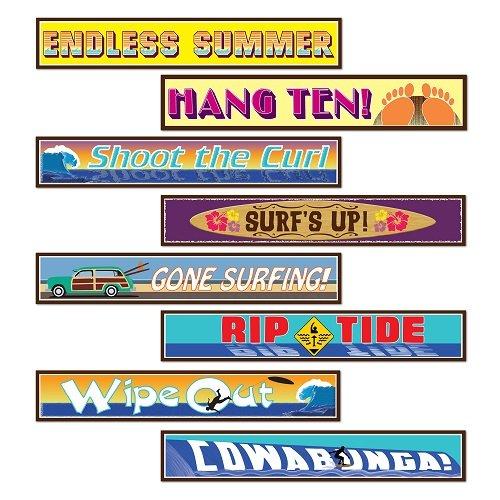 Beistle S54522AZ3, 12 Piece Surfer Street Sign Cutouts, 4