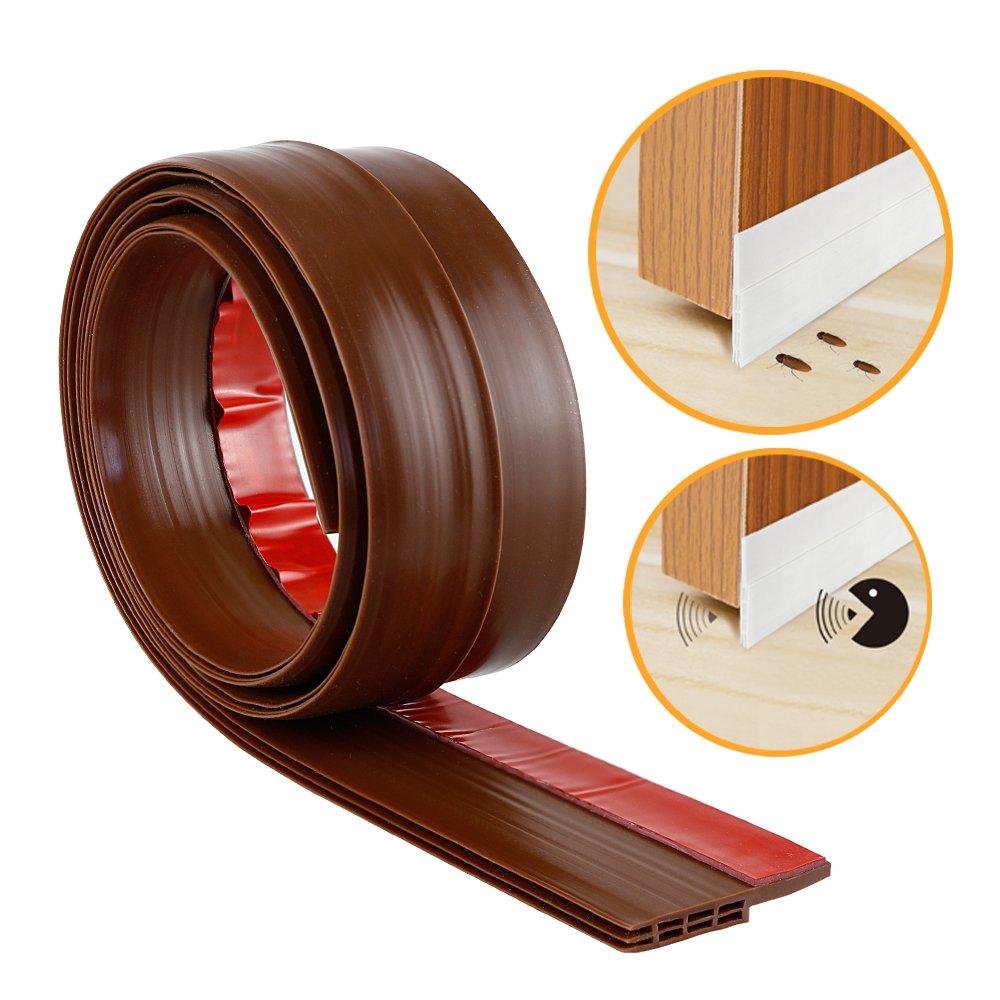 Door Bottom Seal Rubber Strip - Self-Adhesive Under Door Sweep Weather Stripping, Anti-Noise, Anti-Bug by WeiBonD (Brown)